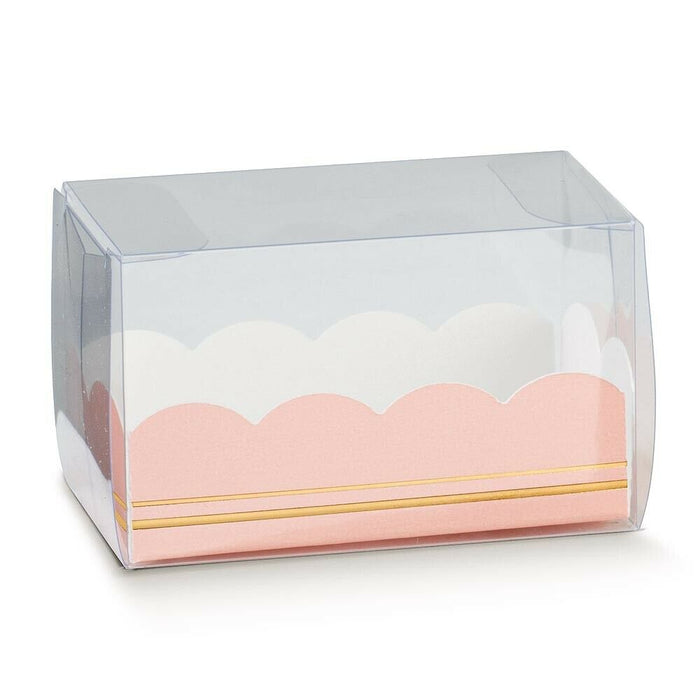 Rose Pink Insert - Premium Transparent Macaron/ Macaroon Box - 160x50x50mm - Clear PVC