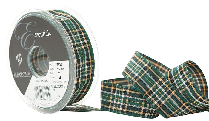 Berisfords Tartan Ribbon - Irish National