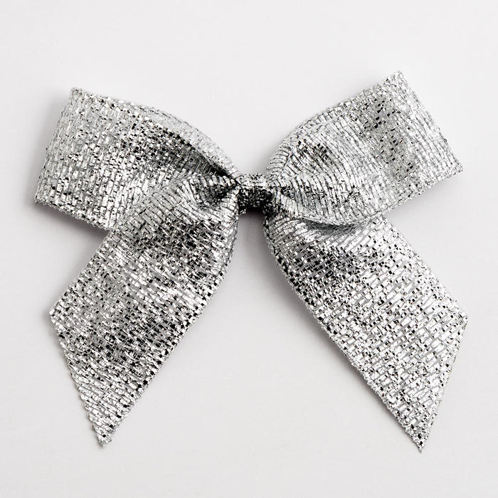 Silver - Self Adhesive Pre Tied Lurex Bows - 5cm x 16mm Ribbon