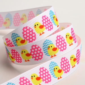 Chicks and Easter Egg Print Grosgrain Ribbon - 15mm x 5m - Button Blue Crafts