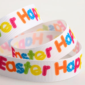 Happy Easter - Bright Multicoloured Print Grosgrain Ribbon - 15mm x 5m - Button Blue Crafts