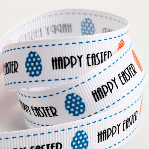 Happy Easter and Easter Egg Print Grosgrain Ribbon - 15mm x 5m - Button Blue Crafts