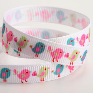 Little Birds - 9mm Multicoloured Pastel Print Grosgrain Ribbon