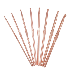 HobbyGift Rose Gold 15cm Crochet Hook Set - 8 Pack - Aluminium Hooks - Button Blue Crafts