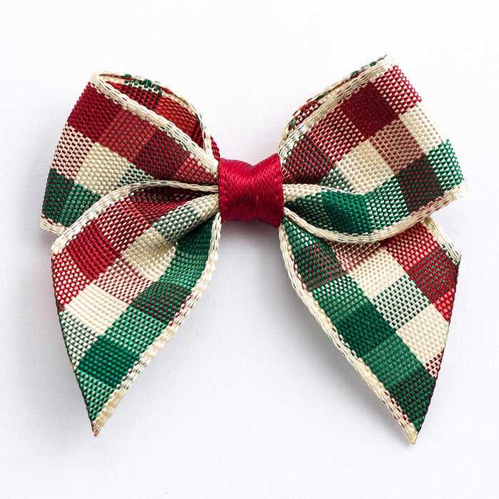 Country Tartan - Pre Tied Bows - 4cm x 15mm Ribbon
