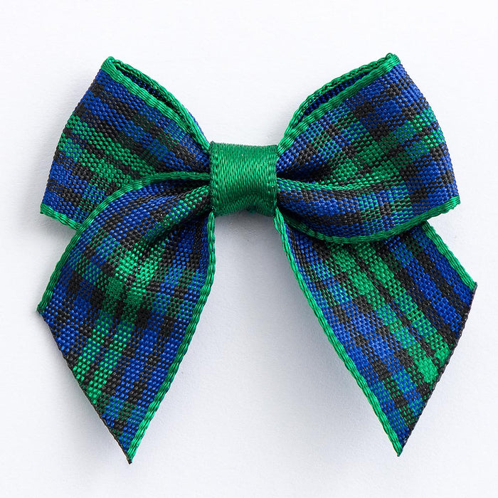 Blue / Green Tartan - Pre Tied Bows - 4cm x 15mm Ribbon