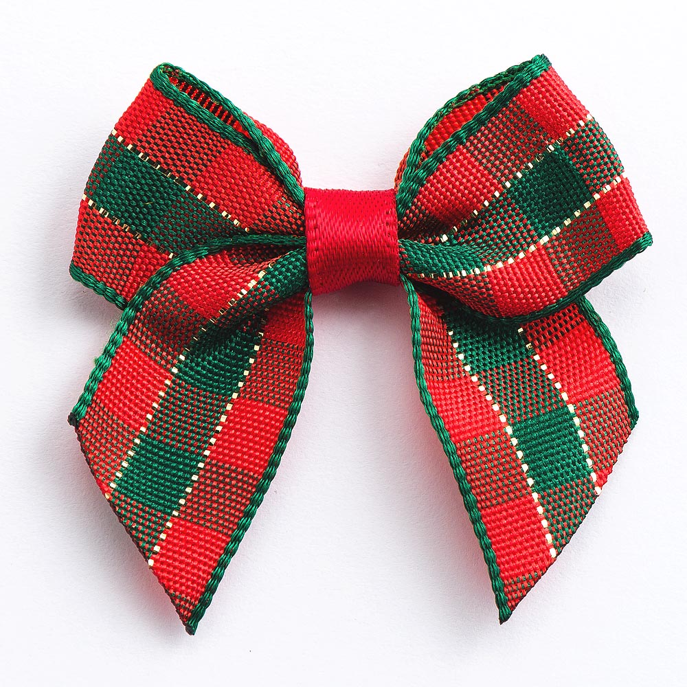 Red / Green Tartan - Pre Tied Bows - 4cm x 15mm Ribbon - Button Blue Crafts