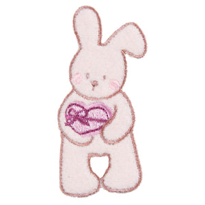 Bunny Rabbit & Heart Motif Iron Sew On Embroidered Applique - CFM2/069 - Button Blue Crafts