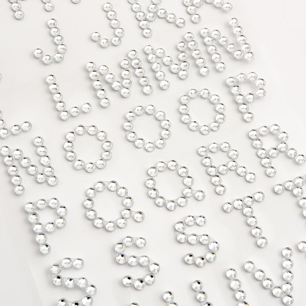 1.5cm Diamante Rhinestone Craft Stickers - Alphabet / Letters