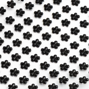 Black Diamante Daisy Flowers - 6mm x 100 Pack Rhinestone Craft Stickers - Button Blue Crafts