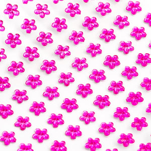 Cerise Pink Diamante Daisy Flowers - 6mm x 100 Pack Rhinestone Craft Stickers - Button Blue Crafts