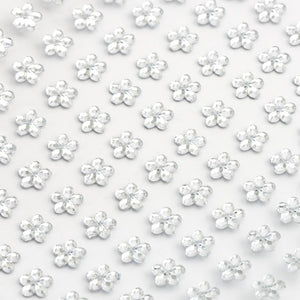 Clear / Silver Diamante Daisy Flowers - 6mm x 100 Pack Rhinestone Craft Stickers - Button Blue Crafts