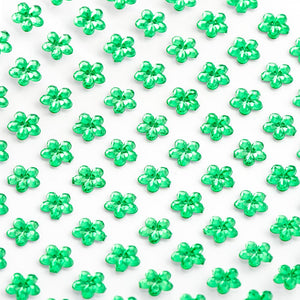 Emerald Green Diamante Daisy Flowers - 6mm x 100 Pack Rhinestone Craft Stickers - Button Blue Crafts
