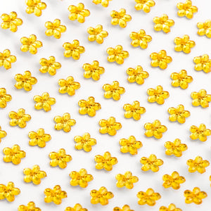 Gold Diamante Daisy Flowers - 6mm x 100 Pack Rhinestone Craft Stickers - Button Blue Crafts
