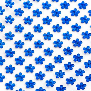 Royal Blue Diamante Daisy Flowers - 6mm x 100 Pack Rhinestone Craft Stickers - Button Blue Crafts