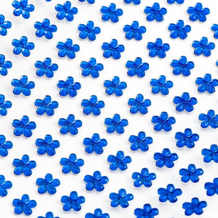 Royal Blue Diamante Daisy Flowers - 6mm x 100 Pack Rhinestone Craft Stickers