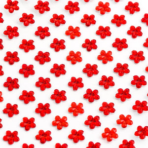 Red Diamante Daisy Flowers - 6mm x 100 Pack Rhinestone Craft Stickers - Button Blue Crafts