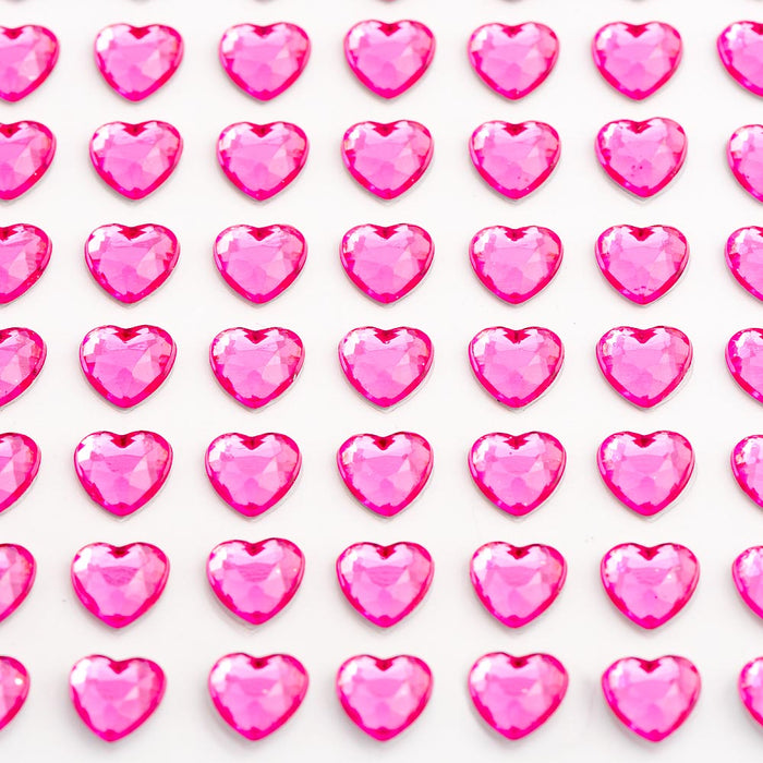 Cerise Pink Diamante Hearts - 6mm x 100 Pack Rhinestone Craft Stickers