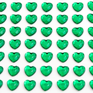 Emerald Green Diamante Hearts - 10mm x 50 Pack Rhinestone Craft Stickers - Button Blue Crafts