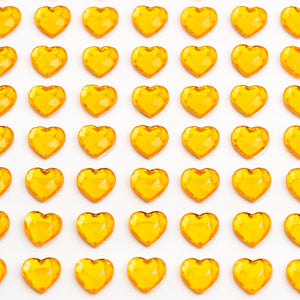 Gold Diamante Hearts - 10mm x 50 Pack Rhinestone Craft Stickers - Button Blue Crafts
