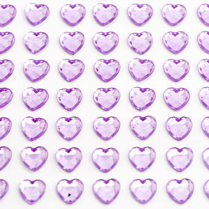 Lilac Diamante Hearts - 6mm x 100 Pack Rhinestone Craft Stickers - Button Blue Crafts