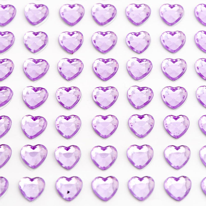 Lilac Diamante Hearts - 6mm x 100 Pack Rhinestone Craft Stickers