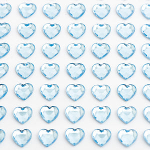 Pale Blue Diamante Hearts - 6mm x 100 Pack Rhinestone Craft Stickers - Button Blue Crafts
