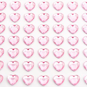 Pale Pink Diamante Hearts - 6mm x 100 Pack Rhinestone Craft Stickers - Button Blue Crafts