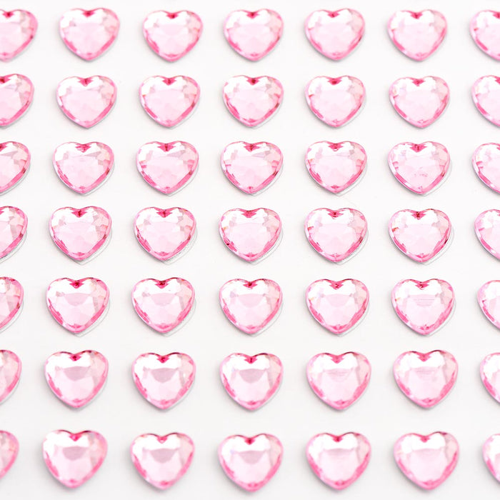 Pale Pink Diamante Hearts - 6mm x 100 Pack Rhinestone Craft Stickers