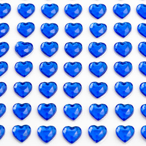 Royal Blue Diamante Hearts - 6mm x 100 Pack Rhinestone Craft Stickers - Button Blue Crafts