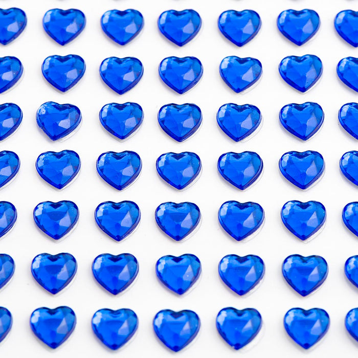 Royal Blue Diamante Hearts - 6mm x 100 Pack Rhinestone Craft Stickers