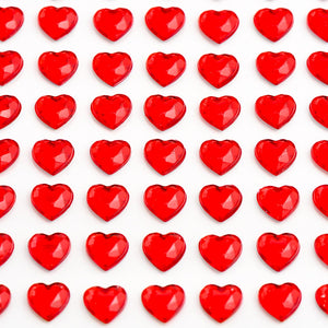 Red Diamante Hearts - 10mm x 50 Pack Rhinestone Craft Stickers - Button Blue Crafts