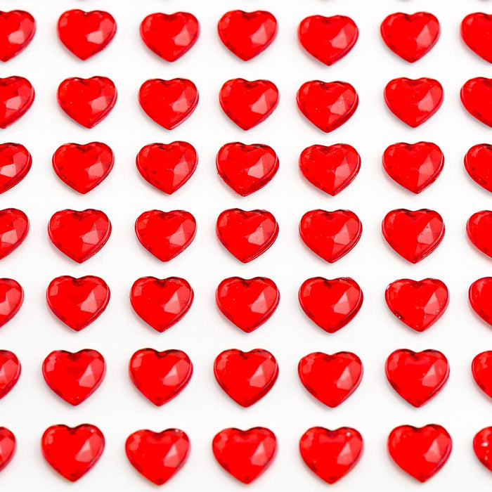 Red Diamante Hearts - 6mm x 100 Pack Rhinestone Craft Stickers
