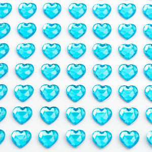 Turquoise Diamante Hearts - 6mm x 100 Pack Rhinestone Craft Stickers - Button Blue Crafts