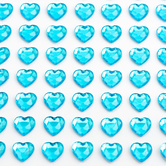 Turquoise Diamante Hearts - 6mm x 100 Pack Rhinestone Craft Stickers