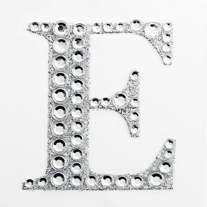 5cm Glitter / Diamante Rhinestone Craft Stickers - Letter E - Button Blue Crafts
