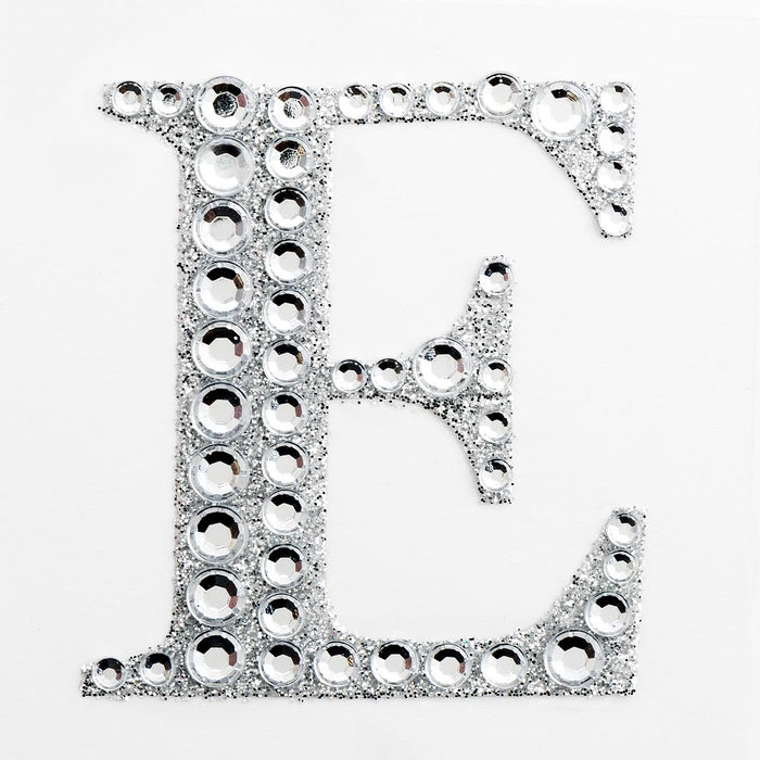 5cm Glitter / Diamante Rhinestone Craft Stickers - Letter E