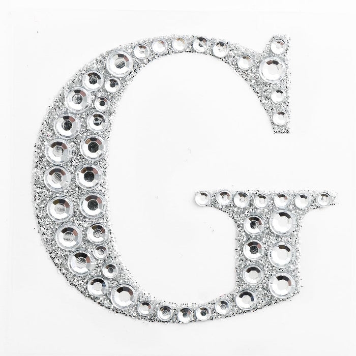 5cm Glitter / Diamante Rhinestone Craft Stickers - Letter G