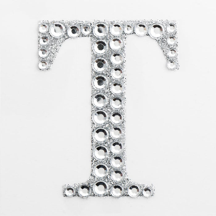 5cm Glitter / Diamante Rhinestone Craft Stickers - Letter T