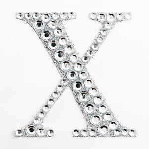 5cm Glitter / Diamante Rhinestone Craft Stickers - Letter X - Button Blue Crafts