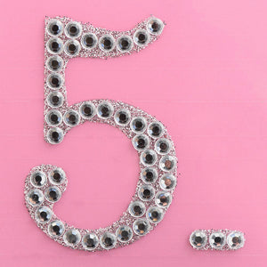 5cm Glitter / Diamante Rhinestone Craft Stickers - Number 5