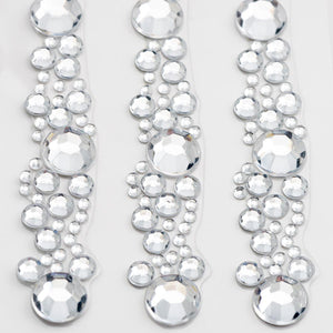 12.5cm Diamante Cluster Strip Border Trim - 3 Pack Rhinestone Craft Stickers - Button Blue Crafts