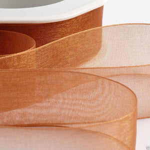 Apricot Spice - Woven Edge Organza - Sheer Ribbon - 4 Widths