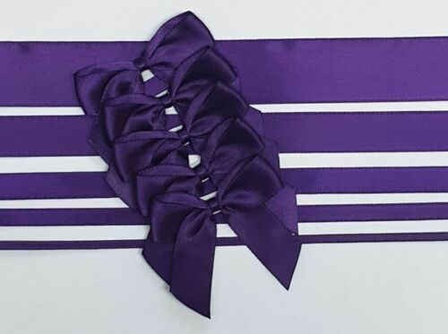 Aubergine - Satin Ribbon & Self Adhesive Bow Multipack - 5 x 1m Mixed Width + 5 x 5cm Bows