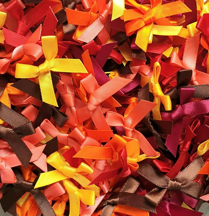 Autumn Mix - Miniature Pre Tied Bows - 30 x 3cm x 6mm Satin Ribbon