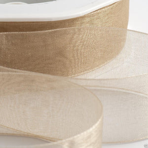 Beige - Woven Edge Organza - Sheer Ribbon - 4 Widths