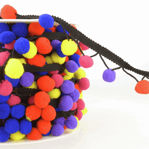 La Stephanoise Pom Pom Tassel Trim - Black Cord - Brights! - Top Quality Craft Fringing