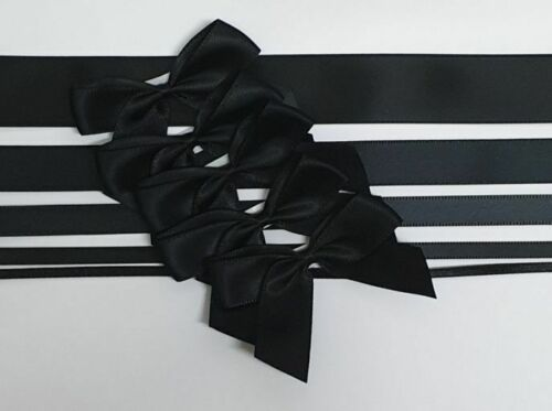 Black - Satin Ribbon & Self Adhesive Bow Multipack - 5 x 1m Mixed Width + 5 x 5cm Bows