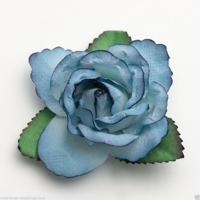 Large 50mm Blue Roses - Mulberry Paper Flowers - Wedding Headband Decoration Craft