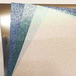 Blue Ice Mix A4 Low Shed Glitter Cardstock Premium Quality - 250gsm